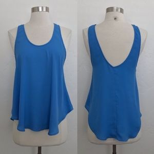 Lush Sheer Blue Lightweight Low Back Blouse Small